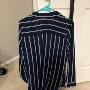 Divided Tops - Women's navy blue striped blouse button up